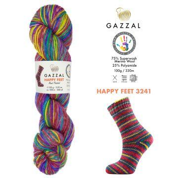 Gazzal Happy feet (3241 радуга) 75% меринос супервош, 25% полиамид 100 г/330 м фото